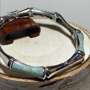 Sterling and Jade Bamboo Bangle
